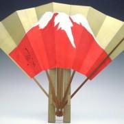 飾り扇子(カワホリ)金色地・赤富士・壽