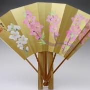 飾り扇子(カワホリ)金色地 桃・桃蕾