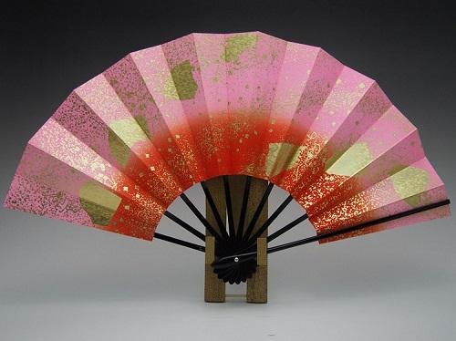 舞扇子(子供用)ピンク・朱ボカシ・色紙と砂子