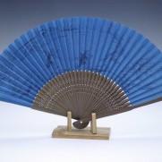 夏扇子(男性用)片面絹張り・鳥獣戯画ブルー2