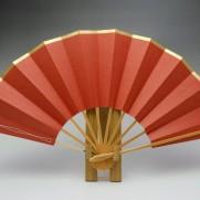 舞扇子(白竹)天金・和紙朱