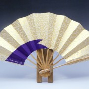 舞扇子(白竹)ゴールド地白松葉色松皮・紫