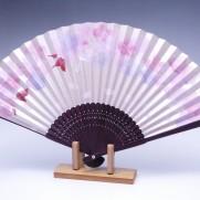 夏扇子(女性用)ピンクパール地・桜・手描き