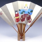 飾り扇子(カワホリ)金色地・立雛