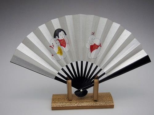 茶扇子(婦人用)唐子人形
